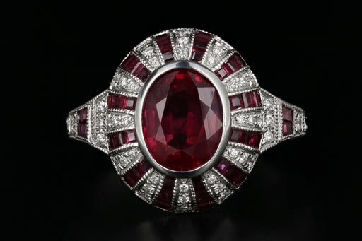 14K White Gold 2.11 Carat Natural Burma Ruby & Diamond Ring GIA Certified - Queen May