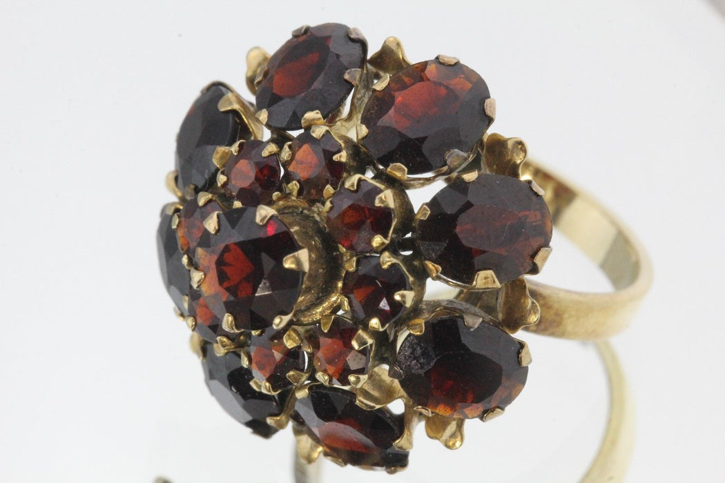 Antique Siam Chunky 14K Gold & Garnet Blooming Cocktail Ring 11 Carats Total - Queen May