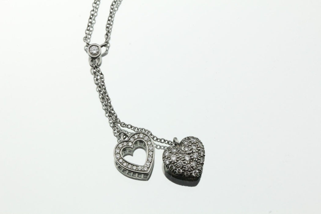 Tiffany & Co. Platinum Pave Diamond Double Heart Pendant Necklace - Queen May