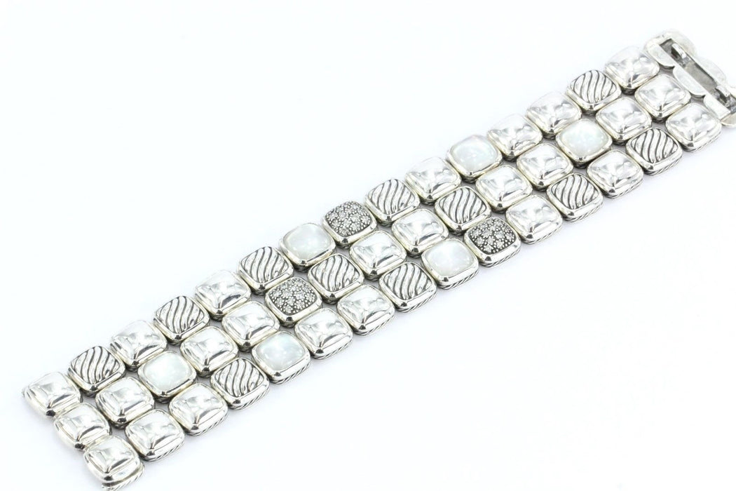 David Yurman Sterling Silver Diamond, Moon Quartz 3 Row Bracelet