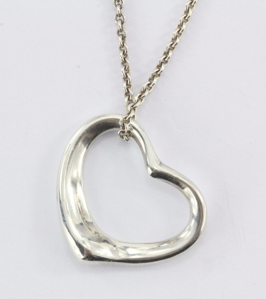 Vintage Tiffany & Co Sterling Silver Elsa Peretti Open Heart Pendant Necklace