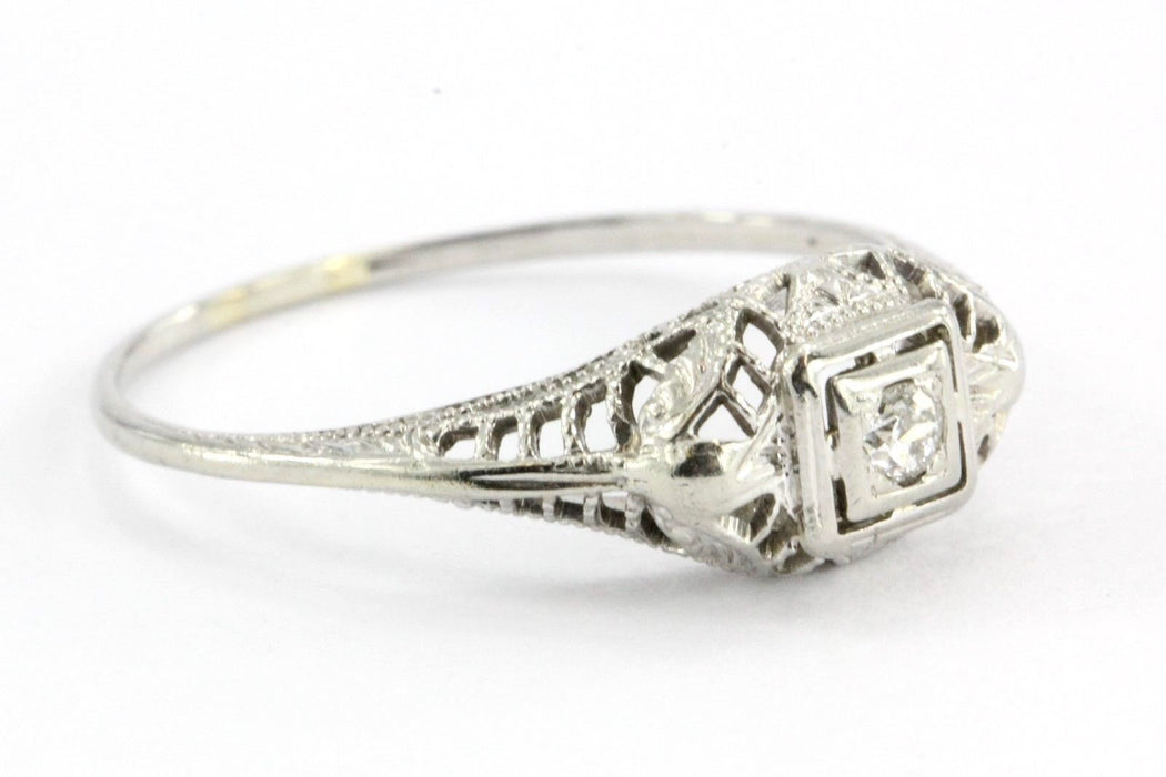 Antique Art Nouveau 18k White Gold & European Cut Diamond Engagement Ring - Queen May