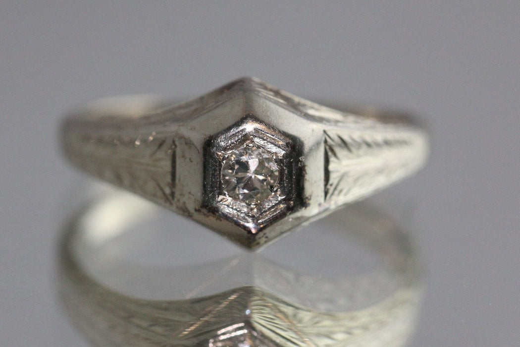 Antique Art Deco 20K Hand Chased Gold & Old Mine Cut Diamond Ring - Queen May