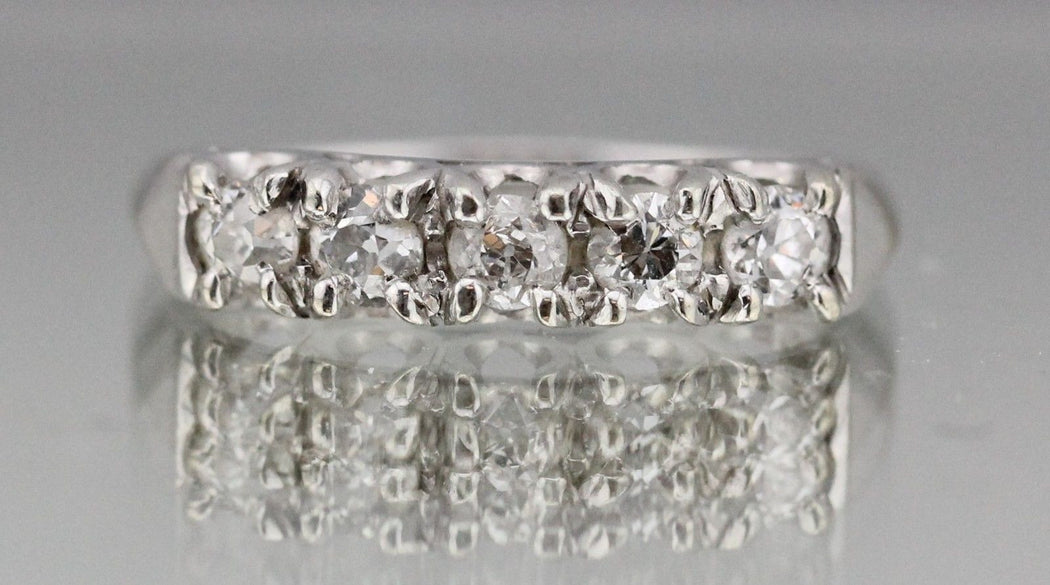 Antique Art Deco 14K White Gold & Old European Cut Diamond Ring / Wedding Band 3/4 TCW - Queen May