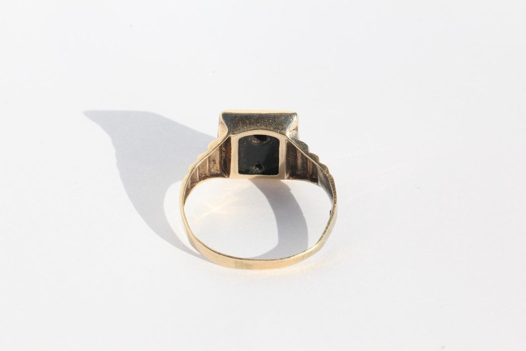 Antique 14K White & Yellow Gold Art Deco 1941 Date Ring w/ Onyx & Diamond WWII - Queen May
