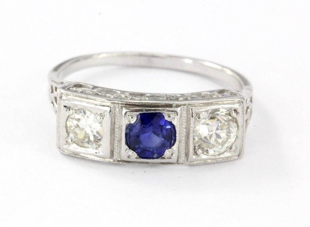 Antique Platinum Old Mine Cut Diamond & Sapphire Engagement Ring 1 CTTW Size 6.5 - Queen May