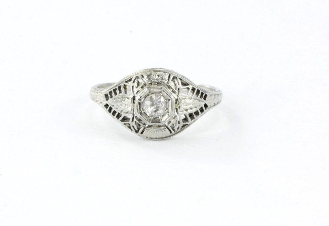 Antique Art Deco 20K White Gold & Old Mine Diamond Engagement Ring