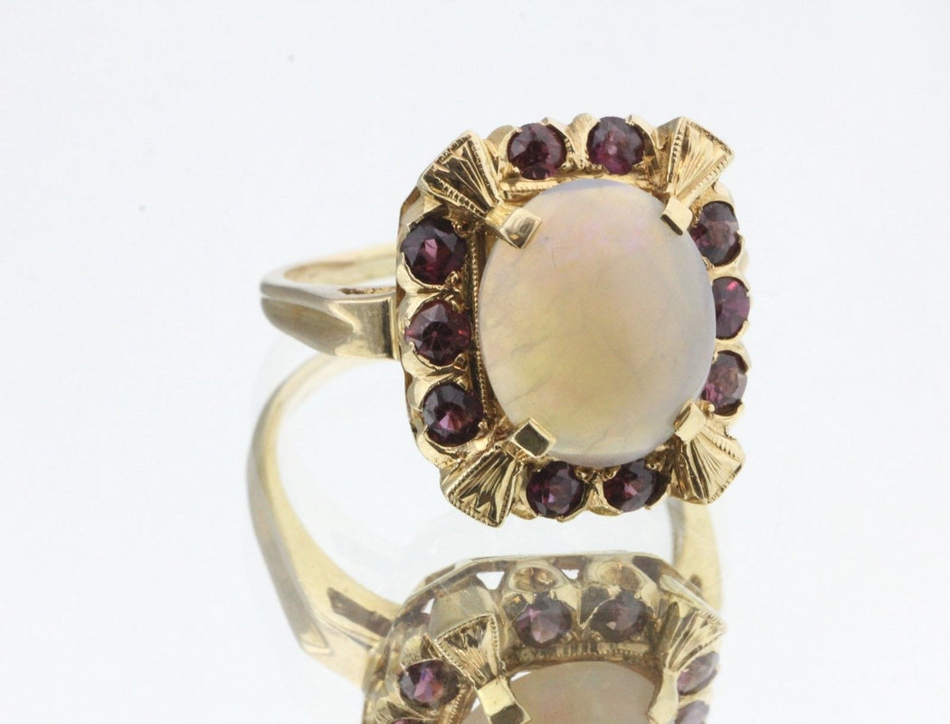 Vintage Art Deco 14K Gold Hand Chased Opal & Pink Tourmaline Ring Hallmarked - Queen May