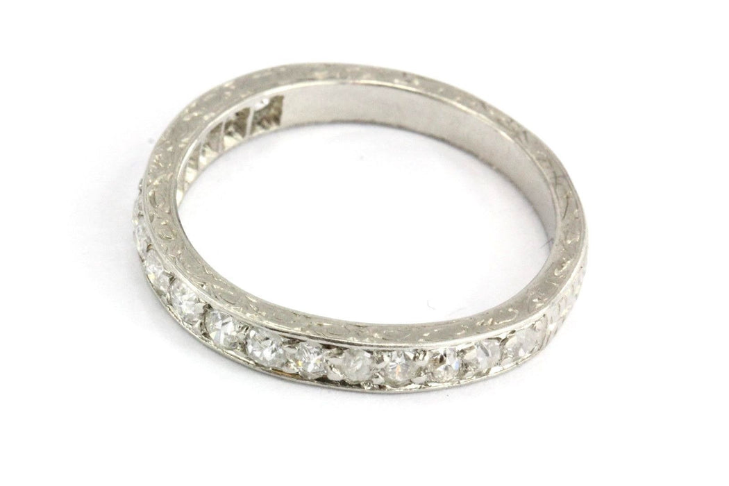 deco rose art wedding antique diamond platinum cut band eternity bands