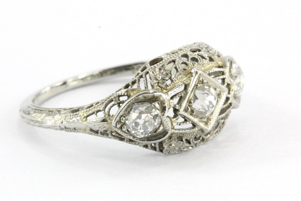 Antique Art Deco 18K White Gold & Old Mine Cut Diamond Engagement Ring Size 7