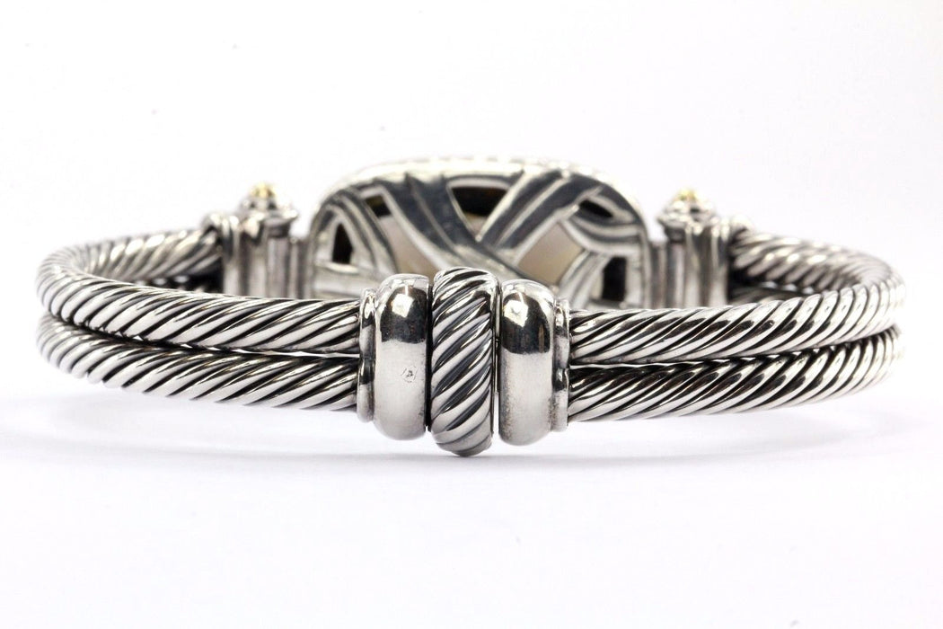 David Yurman Sterling & 18K Smoky Quartz Double Cable Oval Albion Bracelet - Queen May