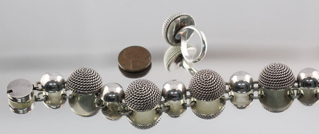 Vintage Mexico Chunky Heavy Sterling Silver Bracelet & Ring Set Signed TL-11