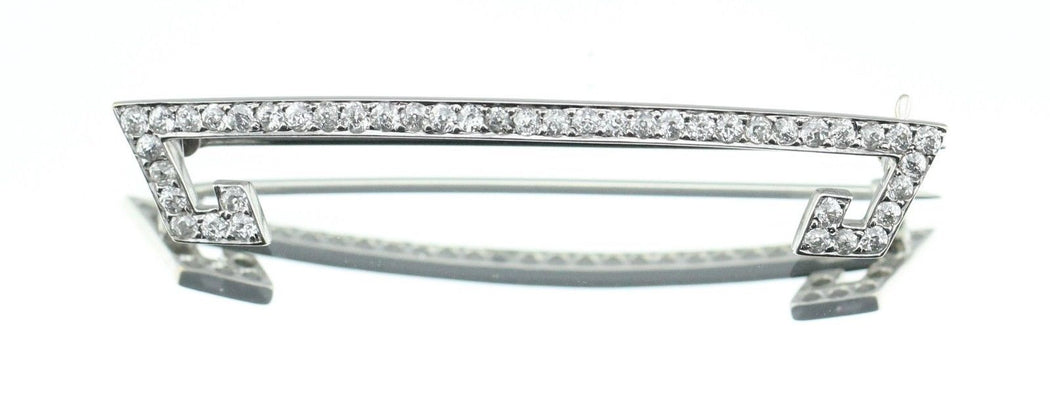 Antique Art Deco 14K White Gold & Old Mine Cut Diamond Brooch / Pin 1.5 ctw - Queen May