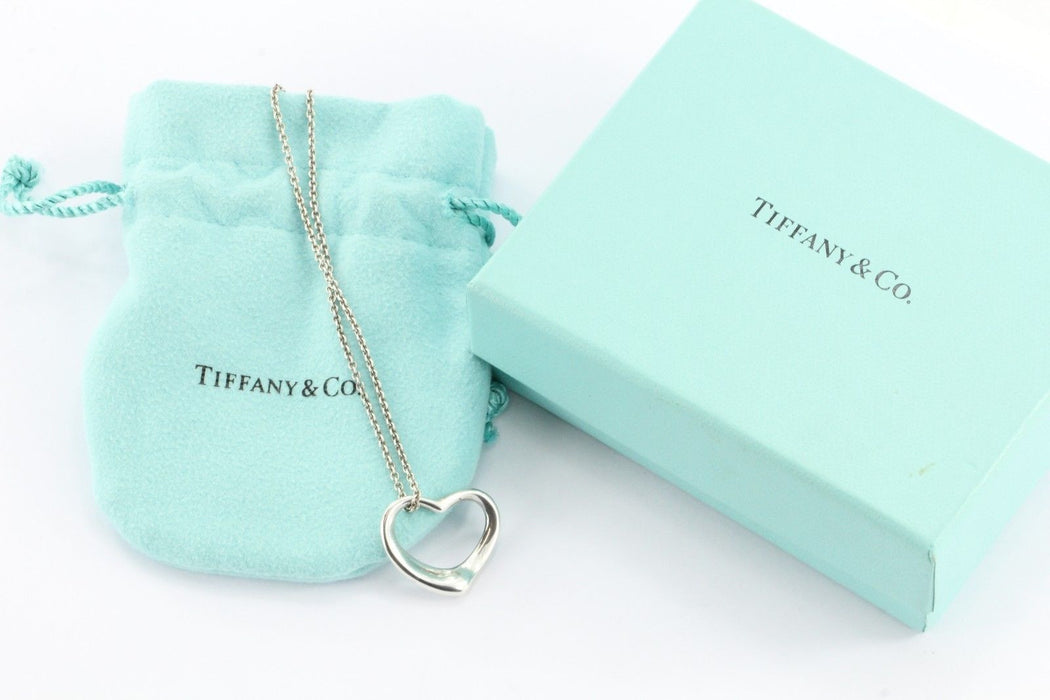 Vintage Tiffany & Co Sterling Silver Elsa Peretti Open Heart Pendant Necklace - Queen May
