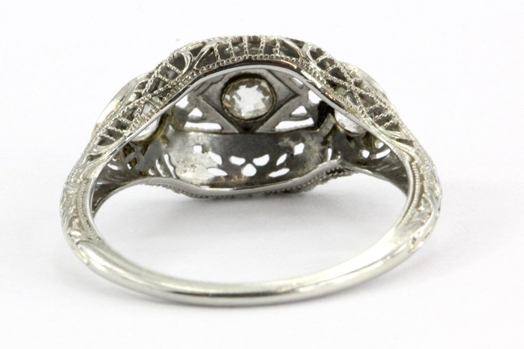 Antique Art Deco 18K White Gold & Old Mine Cut Diamond Engagement Ring Size 7 - Queen May
