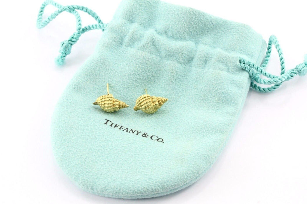 Tiffany & Co 750 18K Gold Brushed Conch Shell Earrings RARE - Queen May