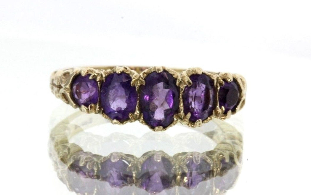 Vintage 9ct Gold London England Amethyst dated 2007 Ring, Victorian Style - Queen May