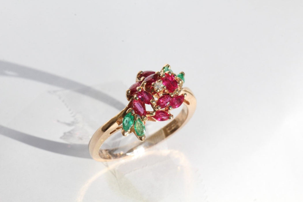 18K Rose Gold Emerald Ruby & Diamond Faberge Royal Rose Engagement Ring Signed