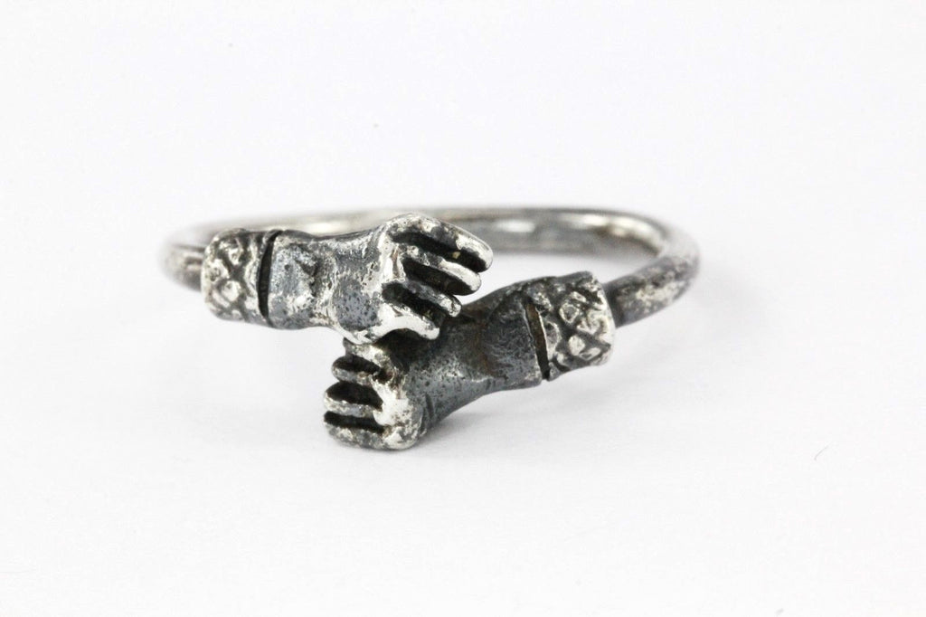 Antique Closed Right Fist Sterling Silver West Indies Adjustable Ring