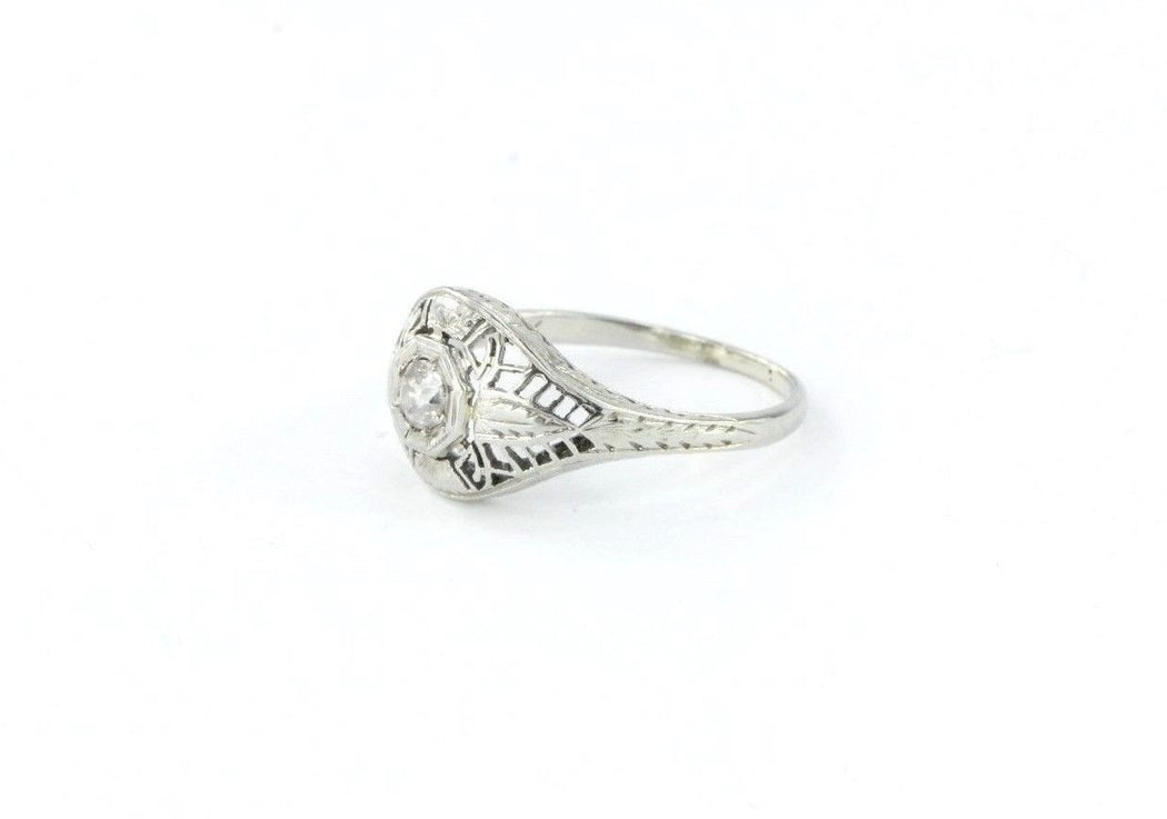 Antique Art Deco 20K White Gold & Old Mine Diamond Engagement Ring - Queen May