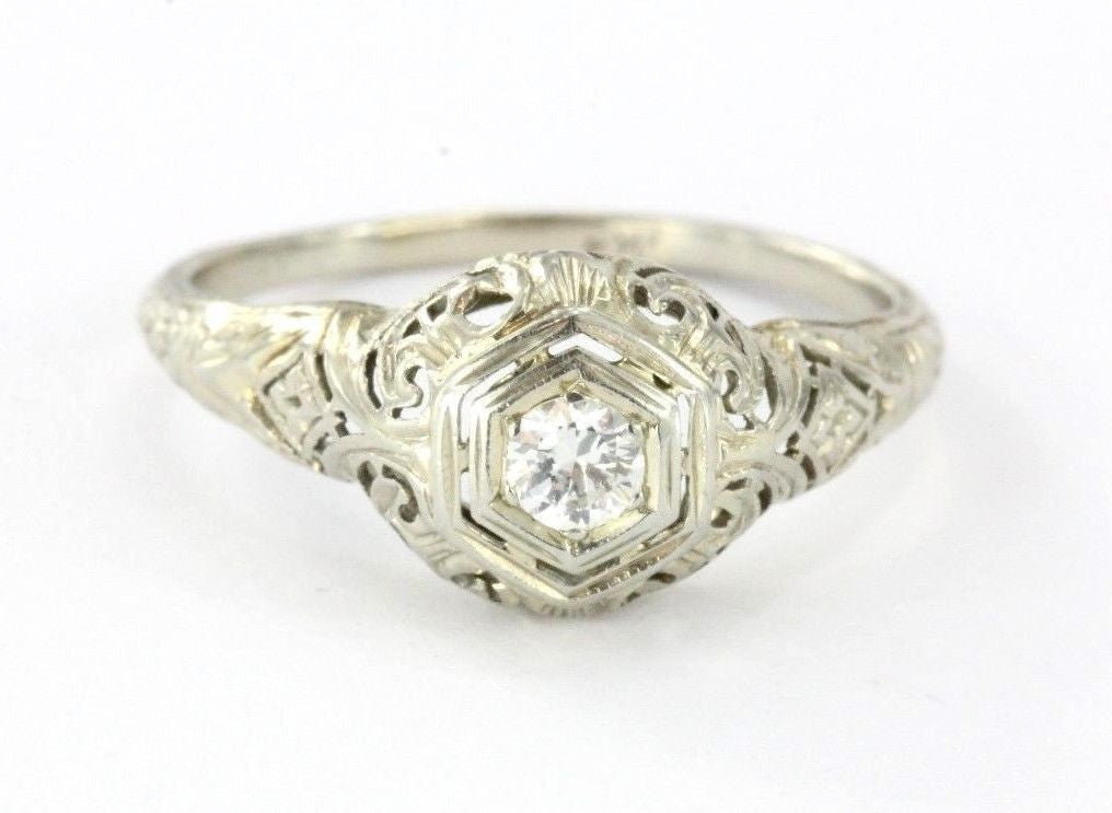 Antique Art Deco 18k White Gold & Diamond Engagement Ring - Queen May