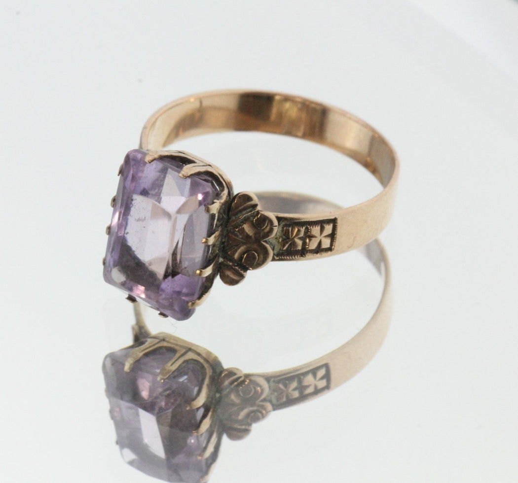 Antique Victorian 14K Rose Gold Lilac Purple Amethyst Ring