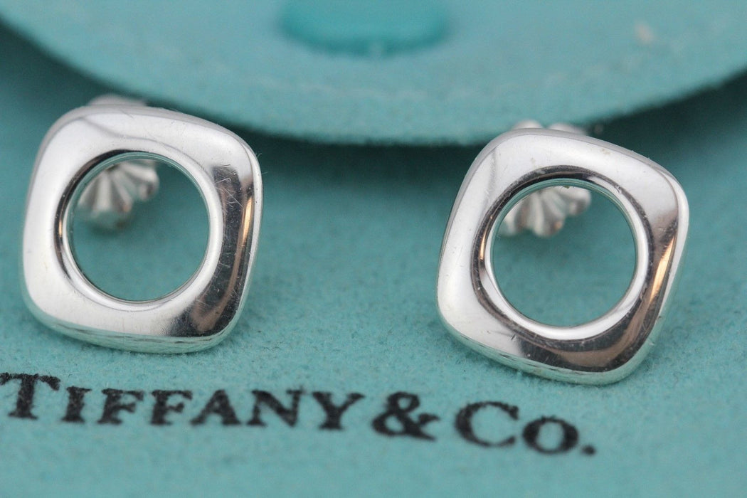 Tiffany & Co Sterling Silver Cushion Earrings - Queen May