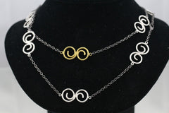 Rare Gurhan Sterling Silver and 24K Gold Vortex Necklace, 42""