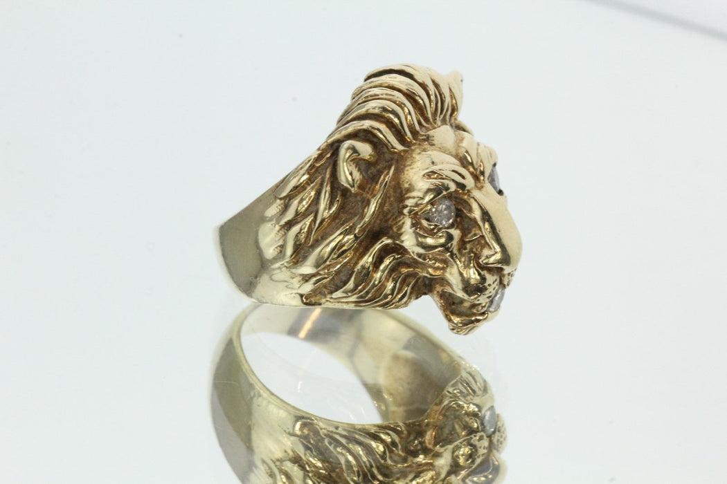 Large Heavy 14K Gold & Diamond Lion Face Ring .30 Carats Total - Queen May