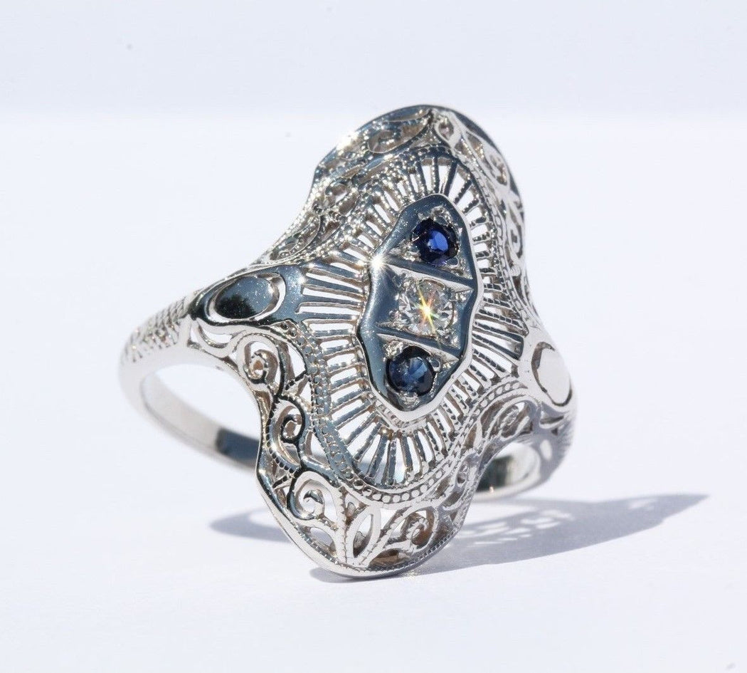Antique Edwardian 14K White Gold Diamond & Sapphire Ring Signed - Queen May
