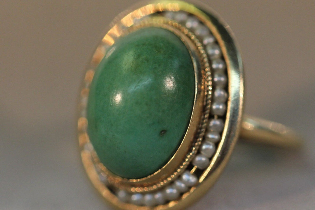 Antique Victorian 14k Gold Mint Green Turquoise & Seed Pearl Ring - Queen May