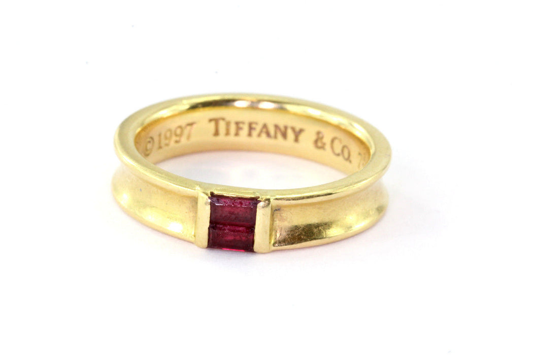 Tiffany & Co 18K Yellow Gold Ruby Stack Band Ring - Queen May