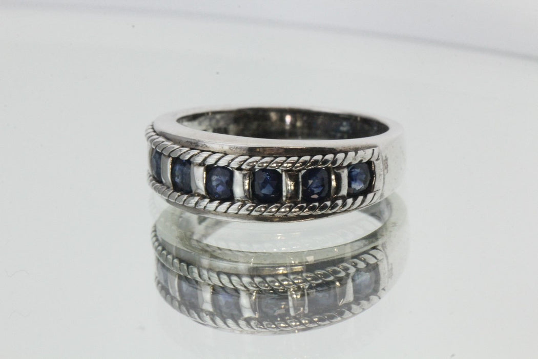 Vintage Sterling Silver & Sapphire Ring / Band - Queen May