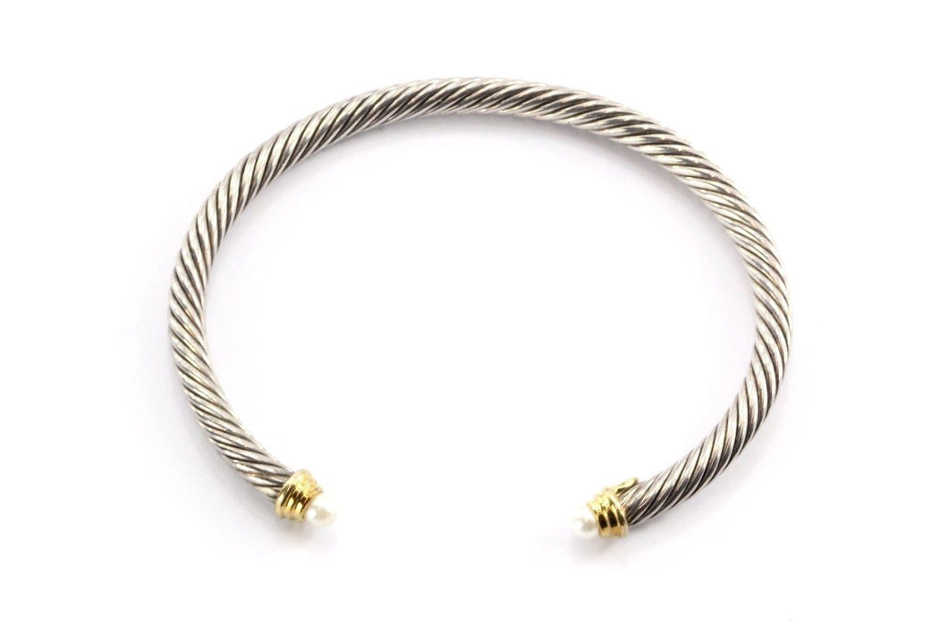 David Yurman Sterling & 18K Gold 4 mm Pearl Cable Classics Cuff Bracelet - Queen May
