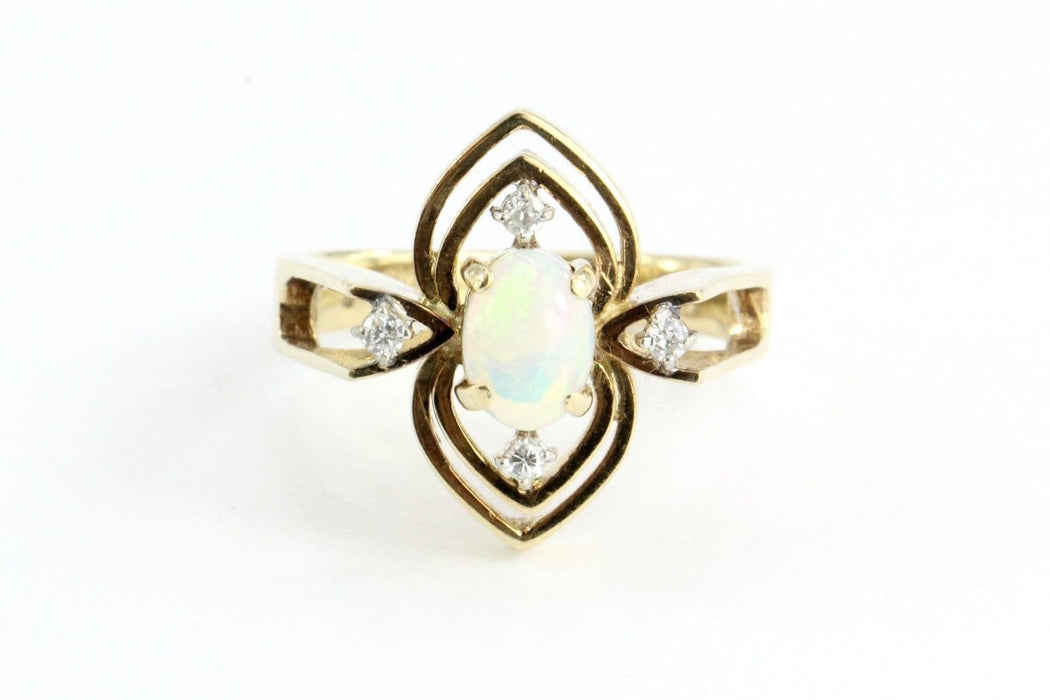 Vintage Art Deco 14K Gold Diamond & Opal Ring - Queen May
