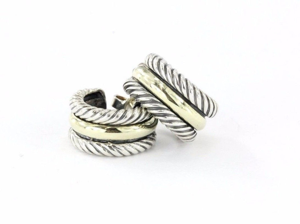 David Yurman Cable Classics Sterling Silver & 14K Gold Hoop Earrings - Queen May
