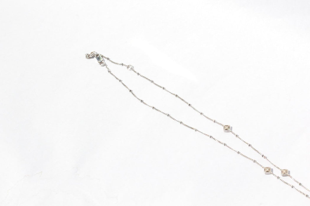 18K White Gold & Diamonds by the Yard Necklace with Diamond Pendant - Queen May