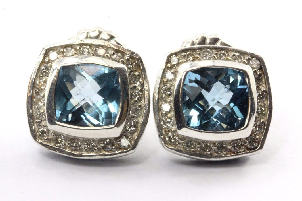 David Yurman Sterling Silver Petite Albion Earrings with Blue Topaz and Diamonds - Queen May