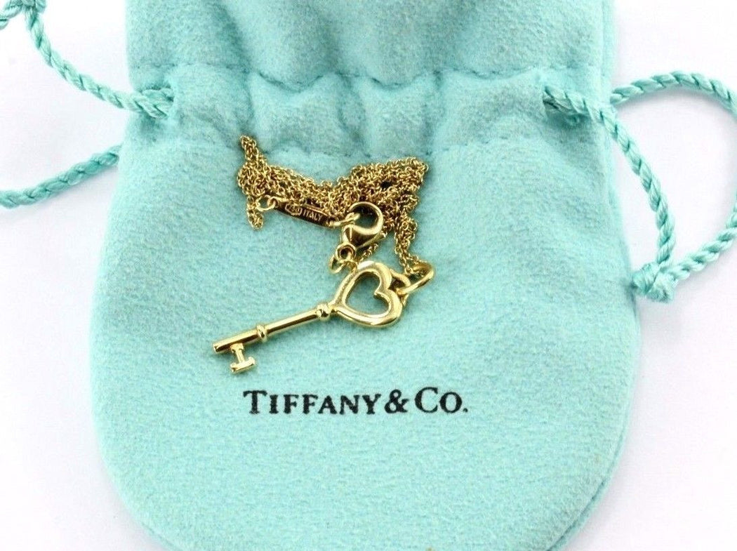 Tiffany & Co 18K Yellow Gold Heart Key Pendant And Necklace - Queen May