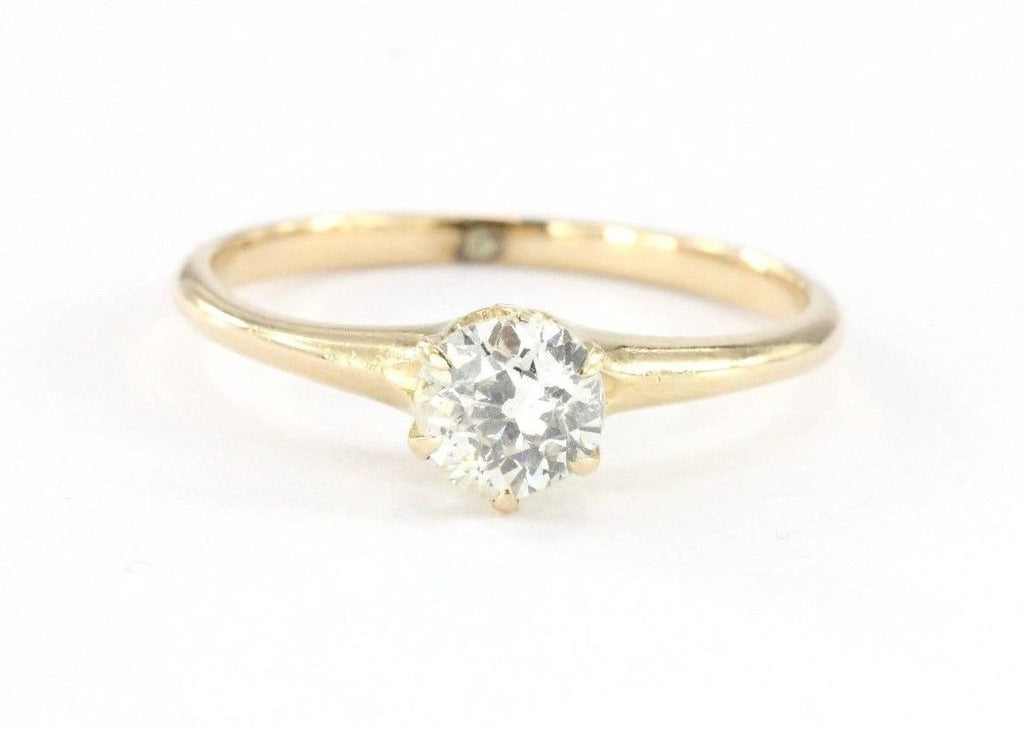 Antique Victorian 14K Gold .60 Carat Old Mine Diamond Engagement Ring