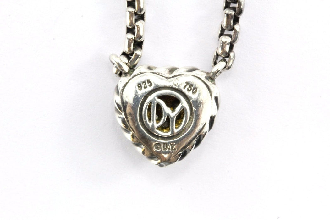 David Yurman Sterling 18k Gold Diamond Heart Cookie Cable Necklace - Queen May