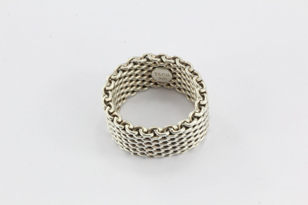 19f7884f996b2 Vintage Tiffany & Co Sterling Silver Mesh Ring Band Size 9.5