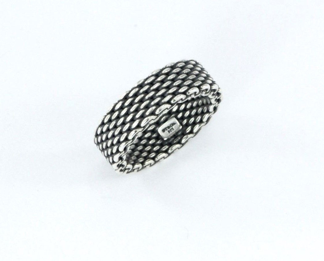 1648568f8 ... Tiffany & Co Sterling Silver Non-Flexible Somerset Mesh Ring Size 6.5 -  Queen ...