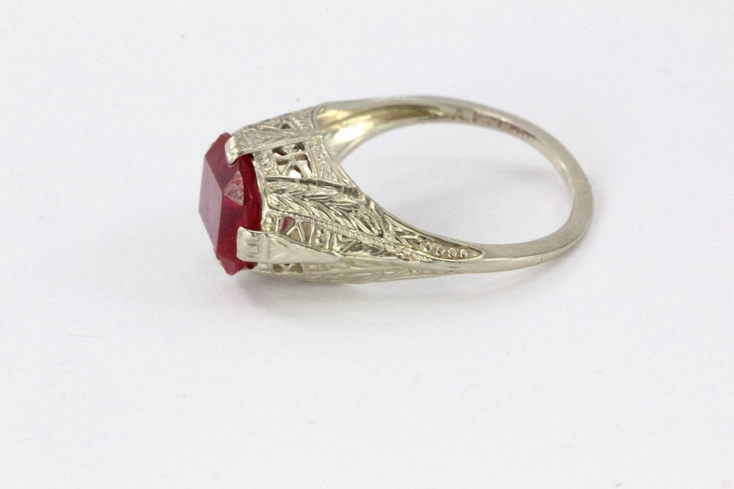 Antique Empire Art Deco 14K White Gold & Ruby Ring Signed A.F. 14K Size 5.75 - Queen May