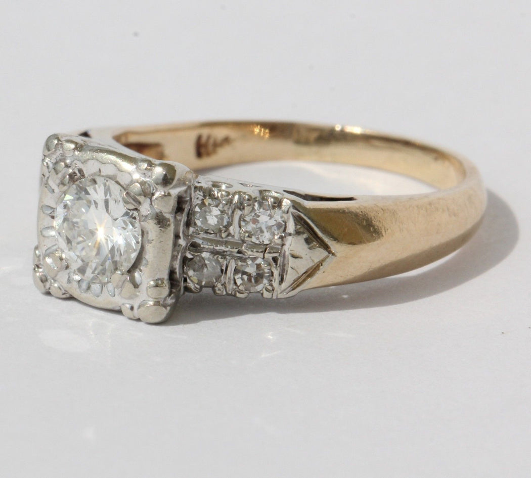 Antique 14K White & Yellow Gold Diamond Cathedral Heart Set Engagement Ring - Queen May