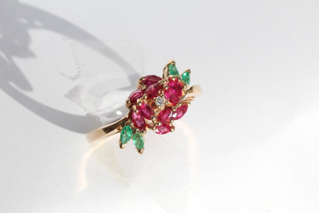 18K Rose Gold Emerald Ruby & Diamond Faberge Royal Rose Engagement Ring Signed - Queen May