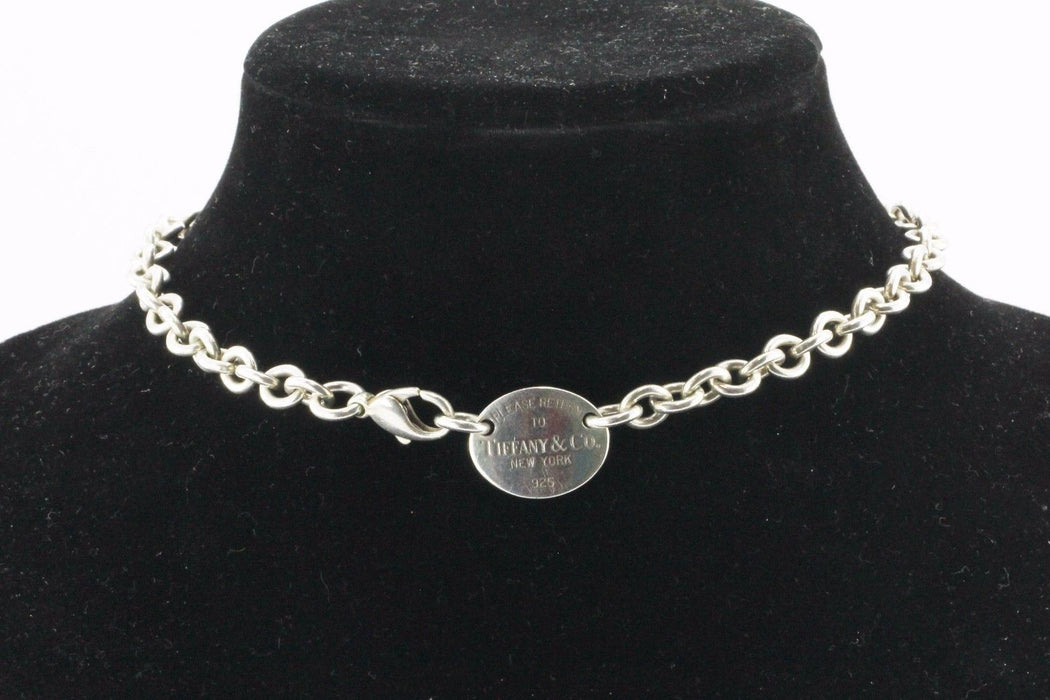 "Tiffany & Co Sterling Silver Please Return To Tag Necklace 15.5"" - Queen May"