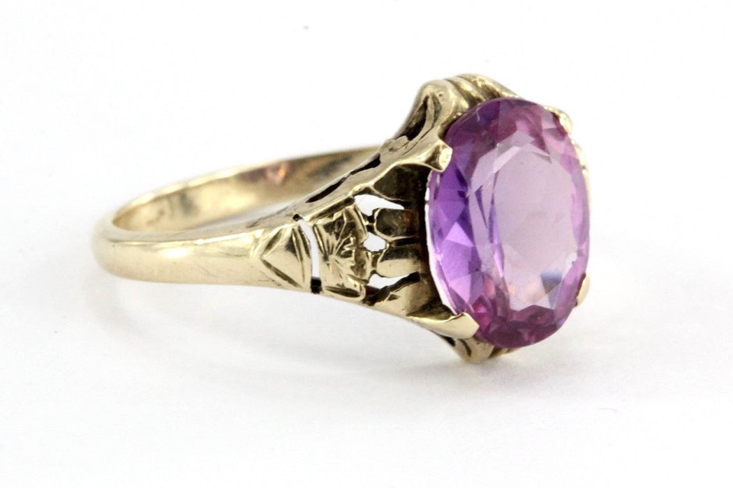 Antique 10K Gold Art Deco Pink Sapphire Ring by Edward R. Roehm of Detroit - Queen May