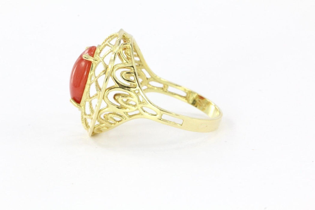 Vintage 18K Gold Mediterranean Red Coral Naples Italy Ring - Queen May