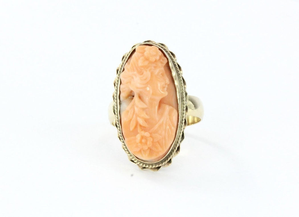 Antique Victorian 14K Gold Hand Carved Angel Skin Coral Cameo Ring Size 7.25 - Queen May